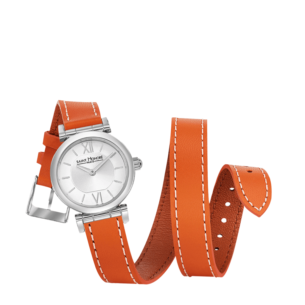 OPERA TWIST Montre femme - Acier, bracelet cuir double tour orange