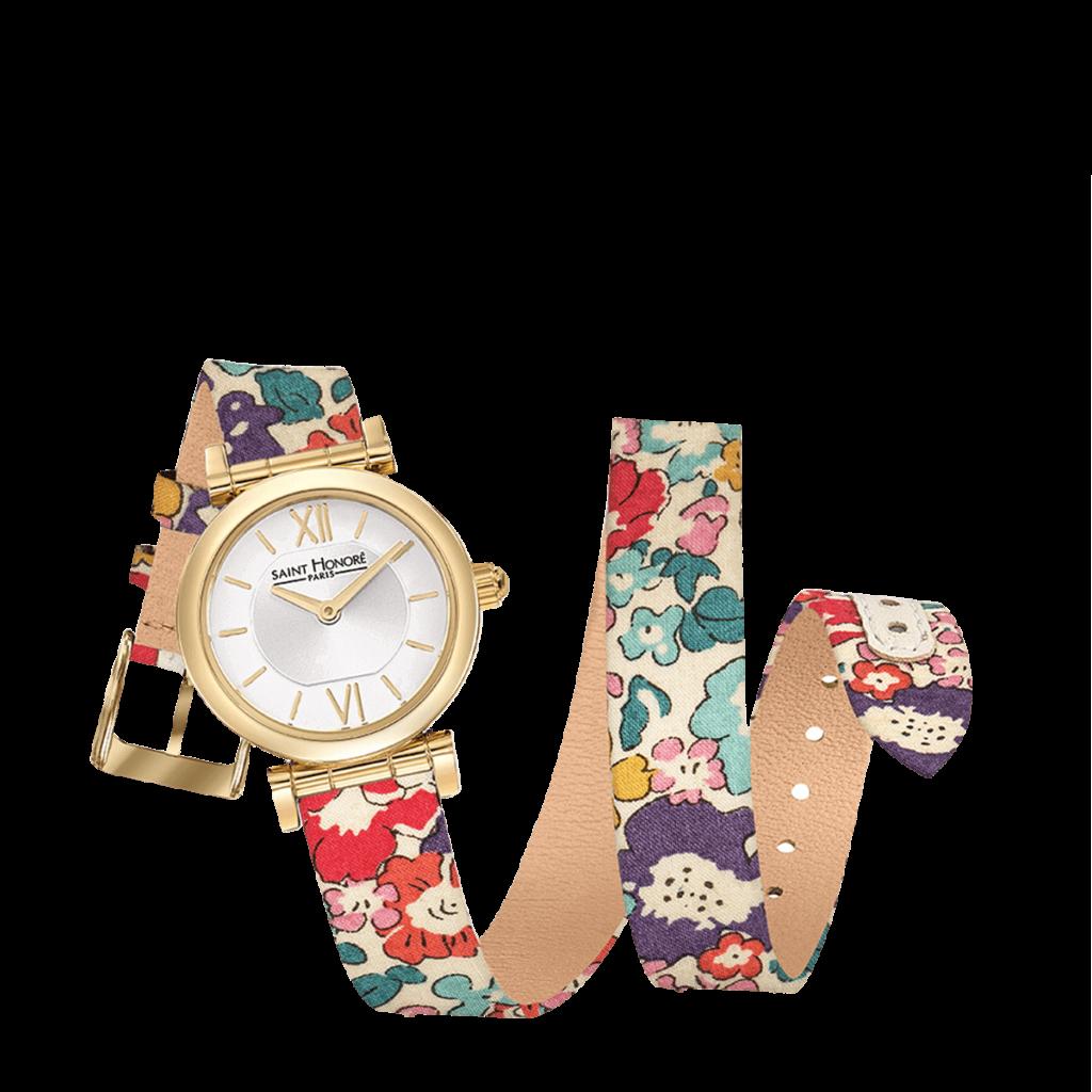 OPERA TWIST Montre femme - Finition or jaune, bracelet double tour motif liberty fleur rouge