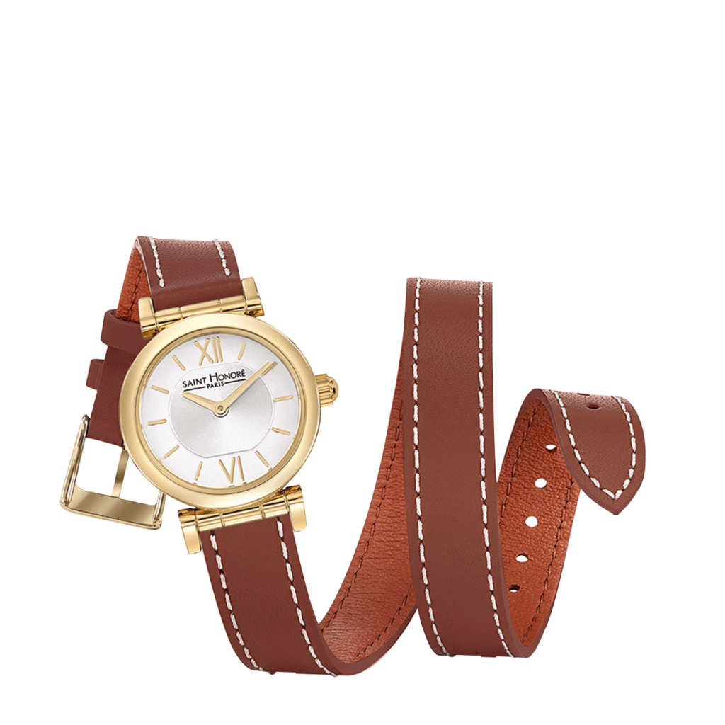 OPERA TWIST Montre femme - Finition or jaune, bracelet cuir double tour marron