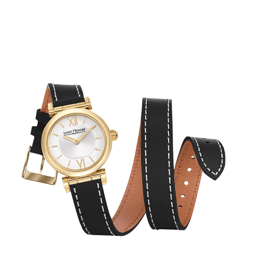 OPERA TWIST Women's watch - Yellow gold finish case, double loop black leather strap