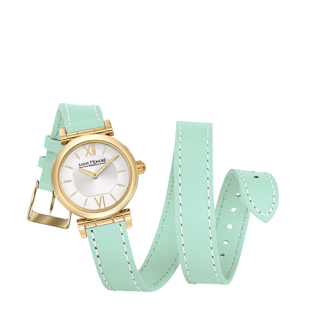 OPERA TWIST Montre femme - Finition or jaune, bracelet cuir double tour vert