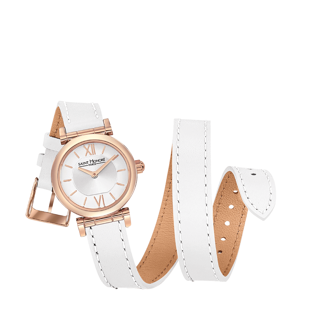 OPERA TWIST Montre femme - Finition or rose, bracelet cuir double tour blanc