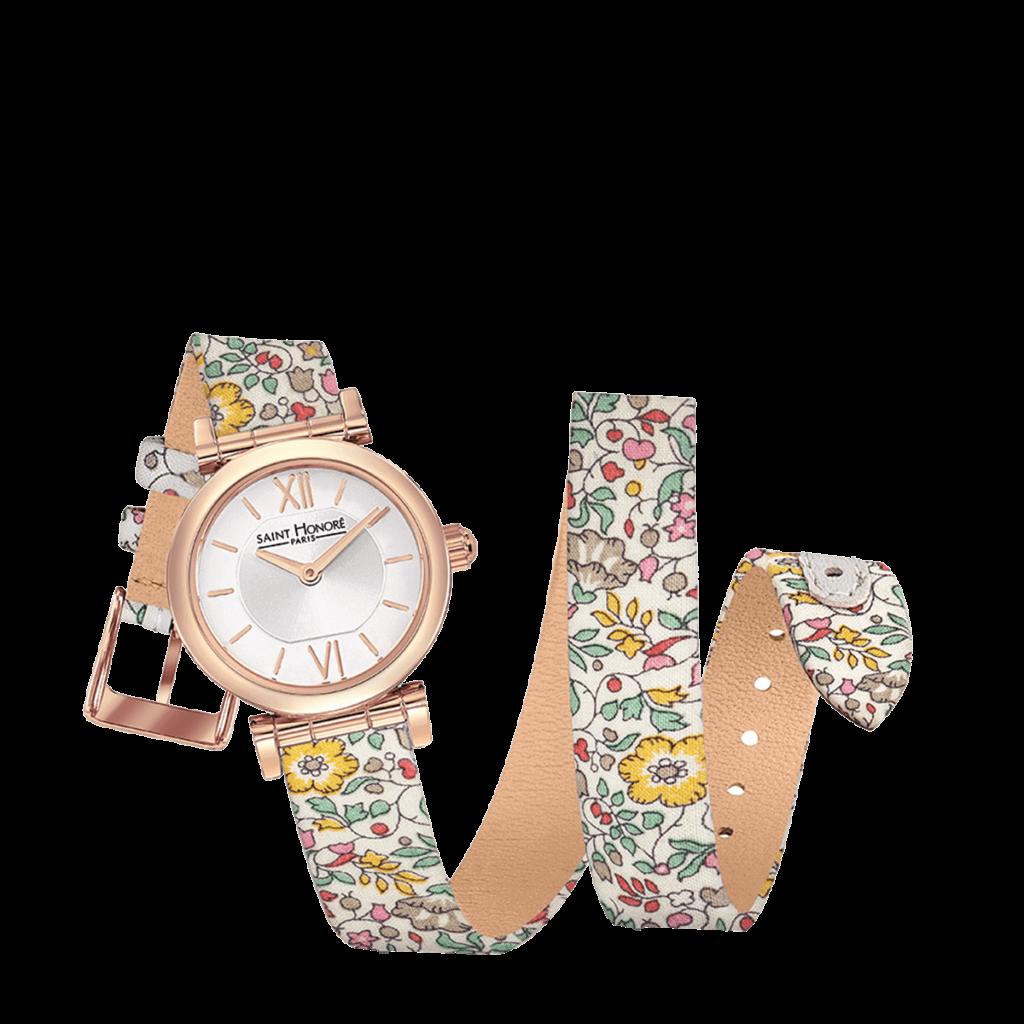 OPERA TWIST Montre femme - Finition or rose, bracelet double tour motif liberty fleurs