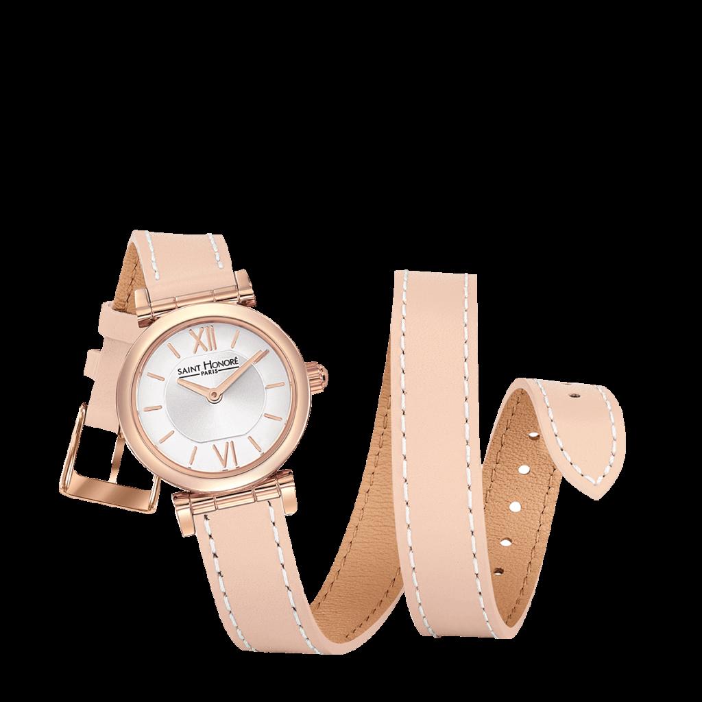 OPERA TWIST Montre femme - Finition or rose, bracelet cuir double tour rose