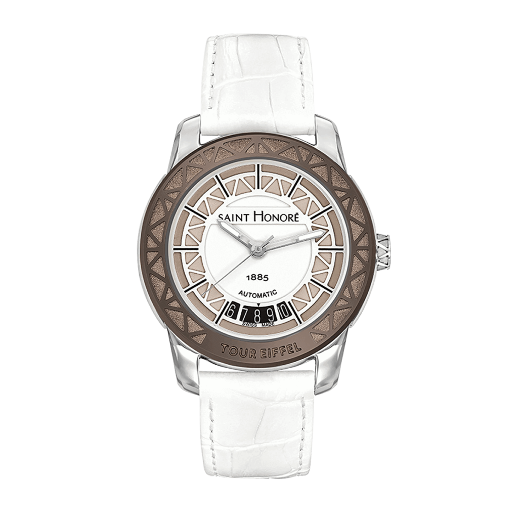 TOUR EIFFEL Women's automatic watch - Stainless steel case, white dial, white leather strap