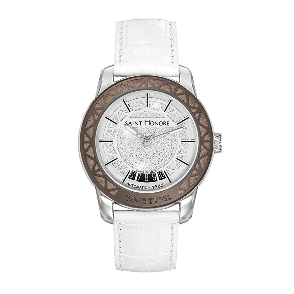 TOUR EIFFEL Women's automatic watch - Stainless steel case, diamond effect dial, white leather strap
