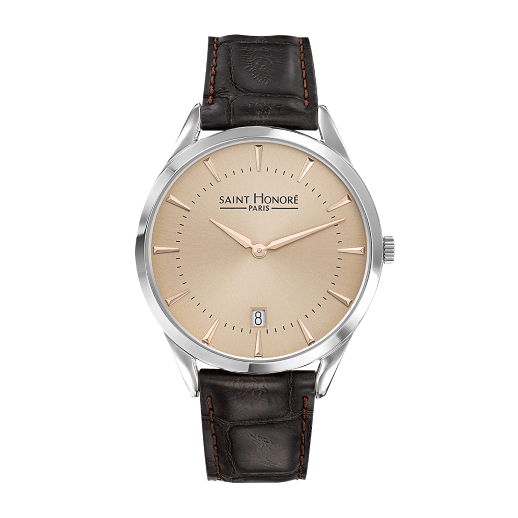 ALLURE Men's watch - Beige dial, brown leather strap