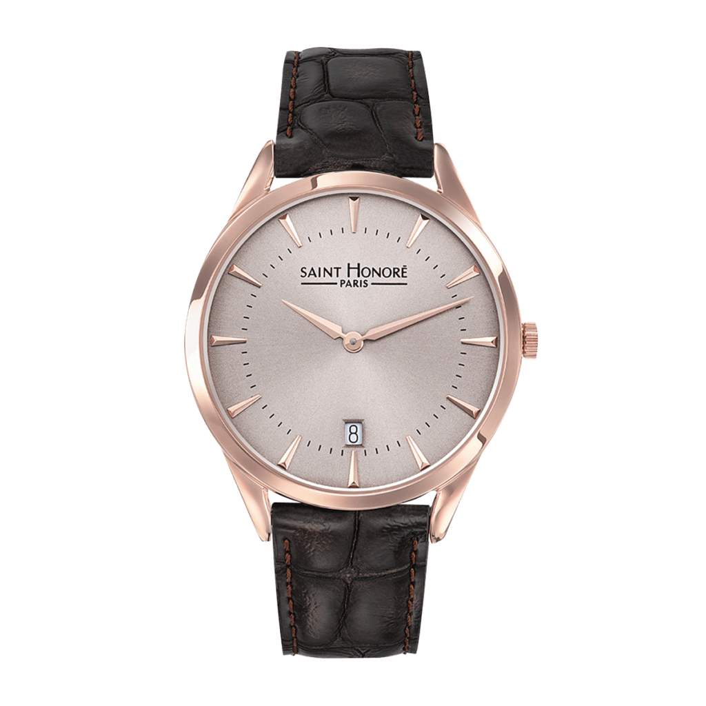ALLURE Montre homme - Finition or rose, cadran champagne rosé, bracelet cuir marron