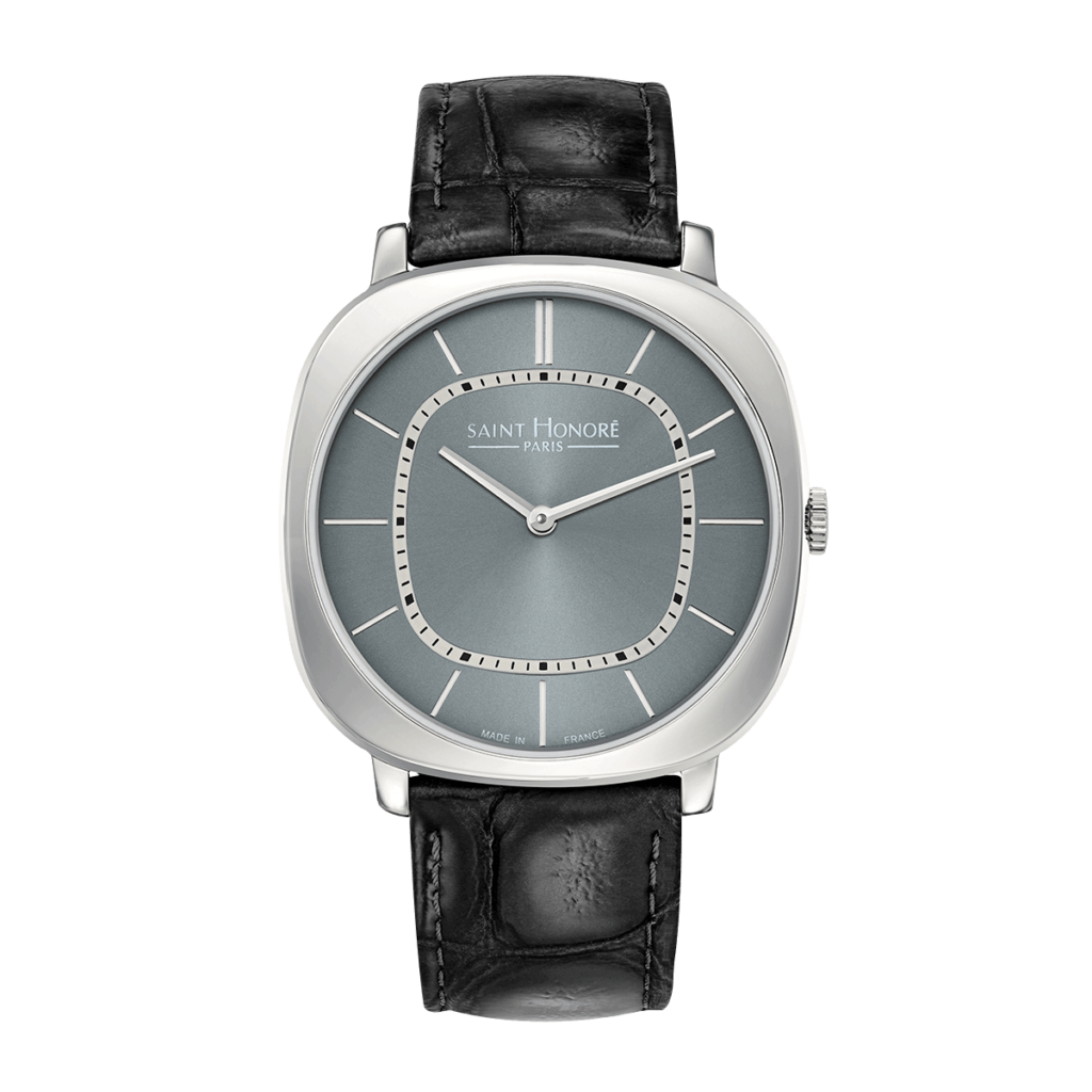 AUTEUIL Men's watch - Grey dial, black leather strap
