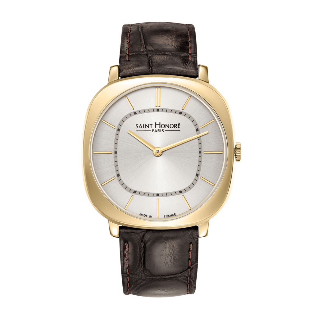 AUTEUIL Men's watch - Yellow gold finish case, brown leather strap