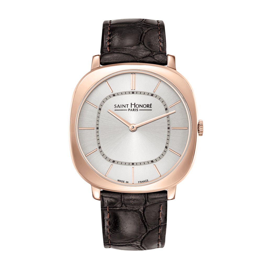 AUTEUIL Montre Homme - Finition or rose, bracelet cuir marron