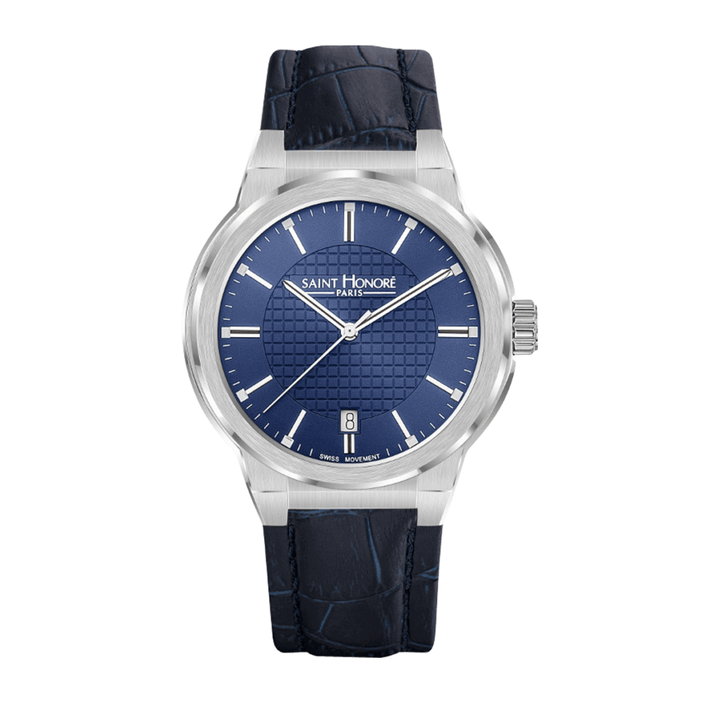 HAUSSMAN CLASSIC Men's watch - Stainless steel case, blue dial, blue leather strap