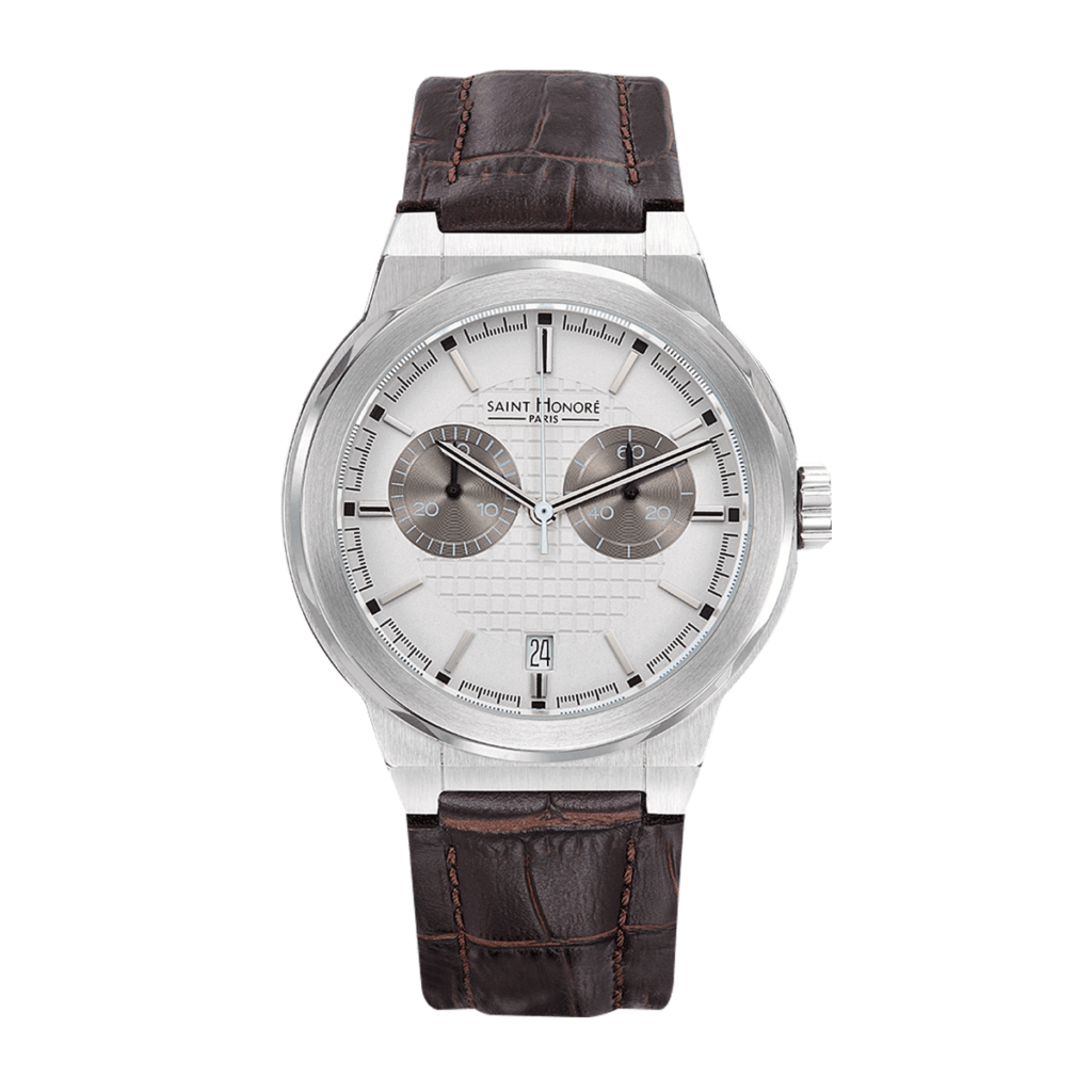 HAUSSMAN CLASSIC Men's chronograph watch - Stainless steel case, brown leather strap