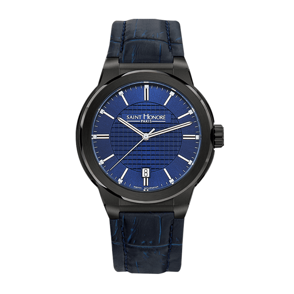 HAUSSMAN CLASSIC Men's watch - Black finish case, blue dial, blue leather strap