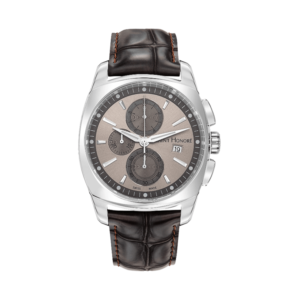 LUTECIA Men's chronograph watch - Brown dial, brown leather strap