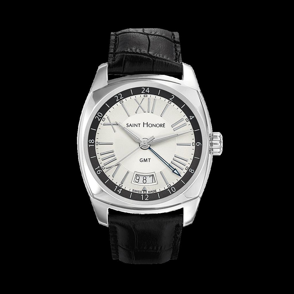 LUTECIA Montre homme GMT - Boîtier acier, bracelet cuir noir
