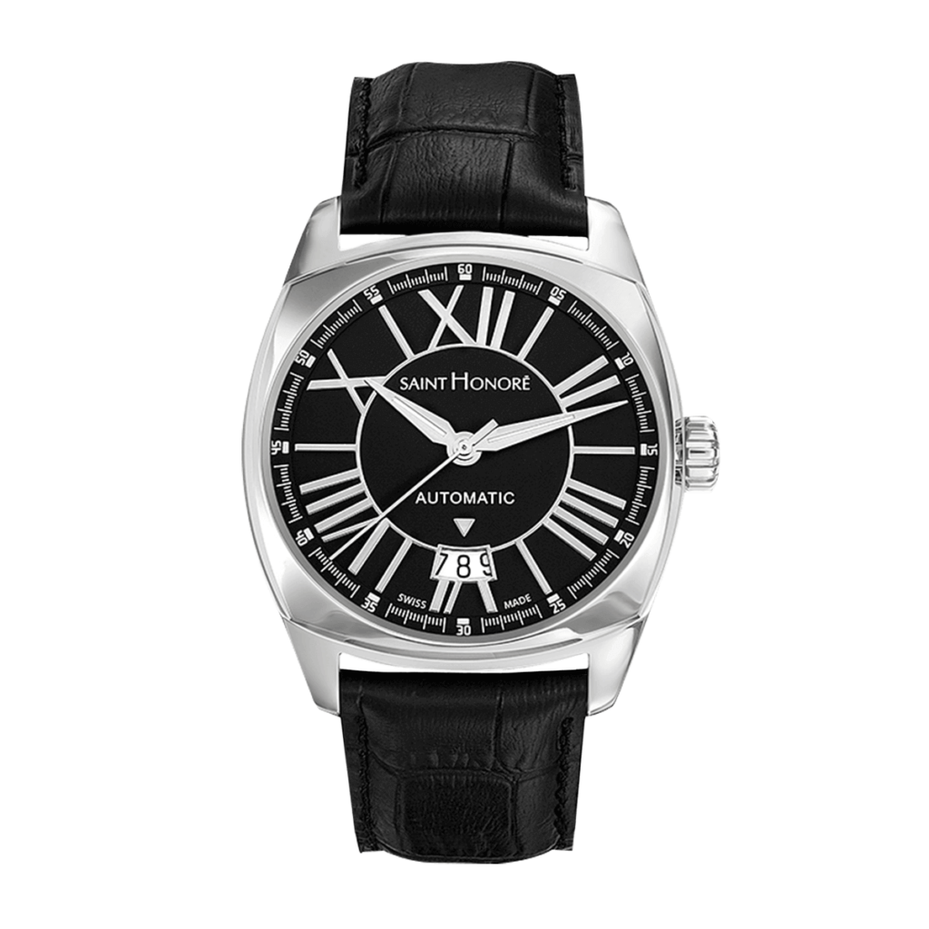 LUTECIA Men's automatic watch - Stainless steel case, black dial, black leather strap