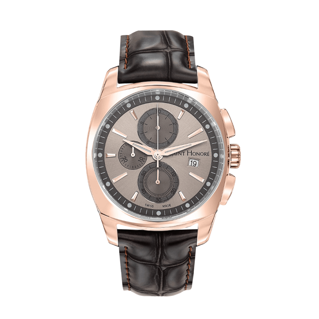 LUTECIA Montre homme chronographe - Finition or rose, bracelet cuir marron