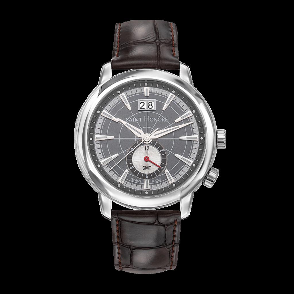 ORSAY GMT Montre homme - Cadran gris, bracelet cuir marron