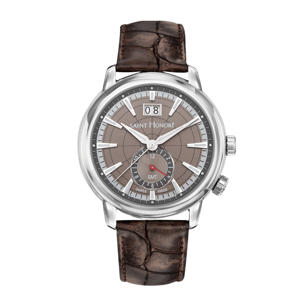 ORSAY GMT Men's watch - Brown dial, brown leather strap