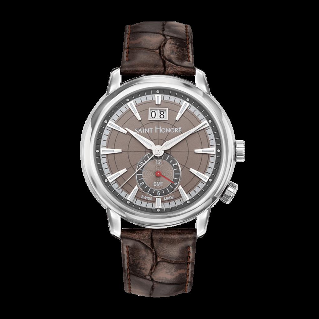 ORSAY GMT Montre homme - Cadran marron, bracelet cuir marron