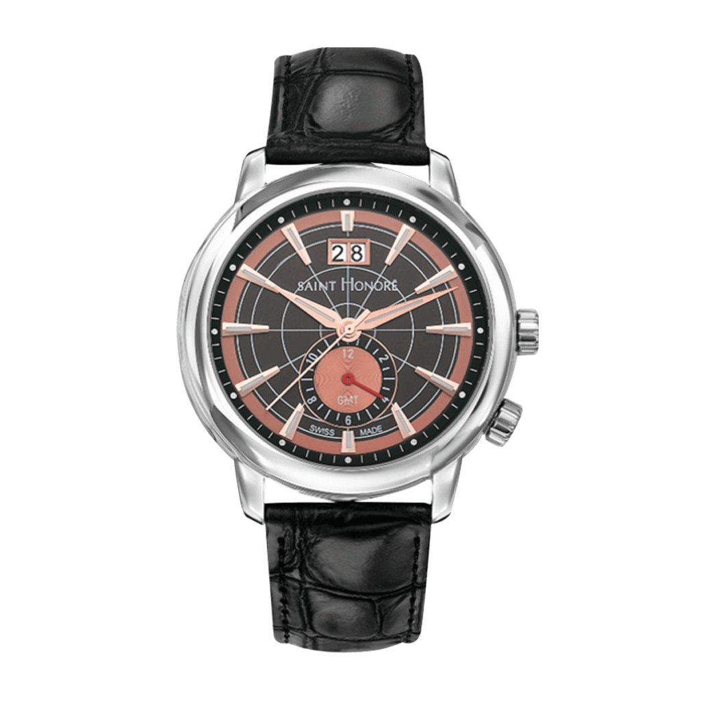 ORSAY GMT Men's watch - Brown & copper dial, black leather strap