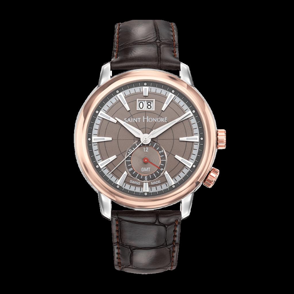 ORSAY GMT Montre homme - Boîtier bicolore, cadran marron, bracelet cuir marron