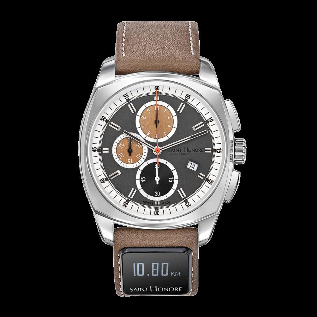 SH CONNECT Montre homme - Lutécia chronographe, cadran gris, bracelet connecté