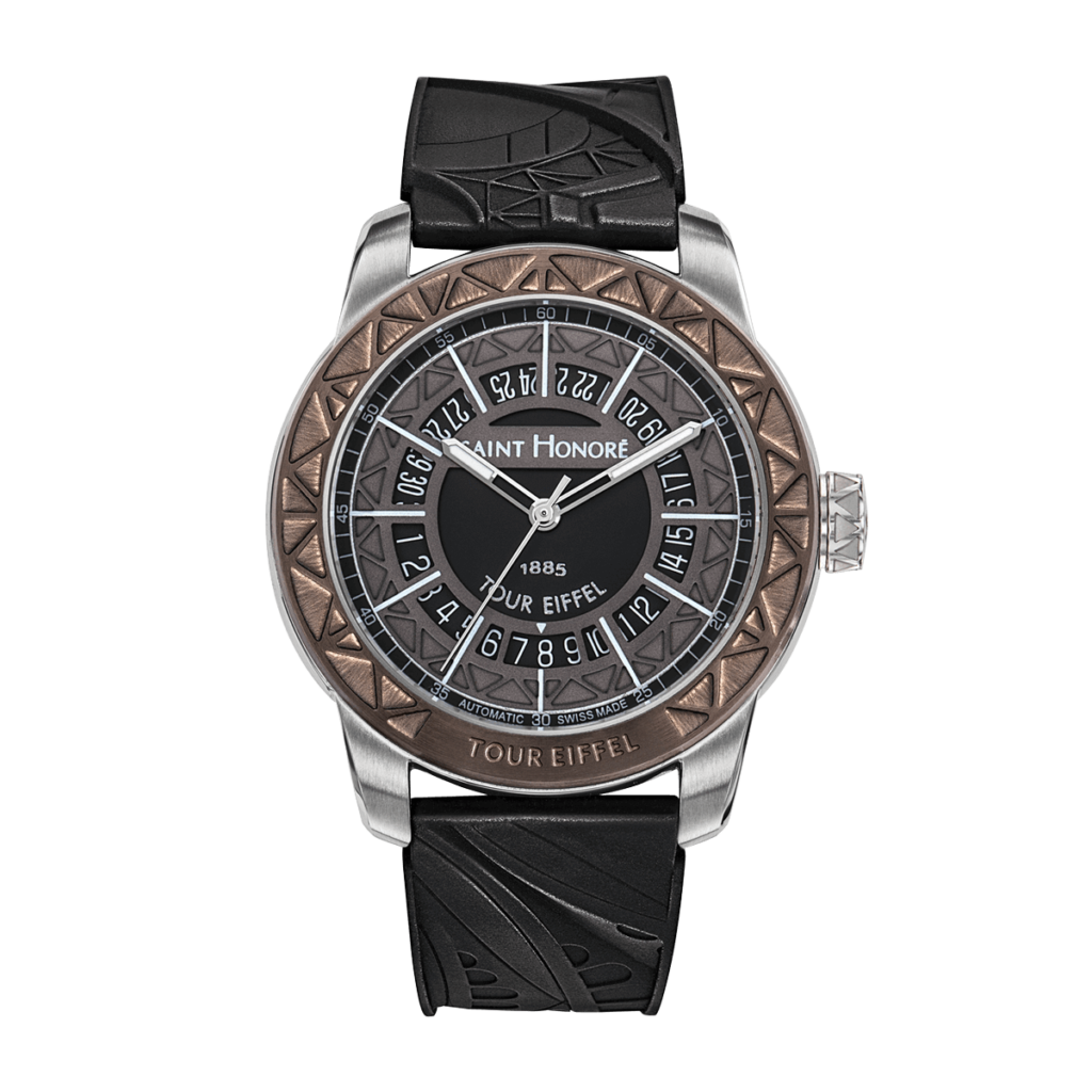 TOUR EIFFEL Men's automatic watch - Stainless steel case, charcoal grey dial, rubber strap