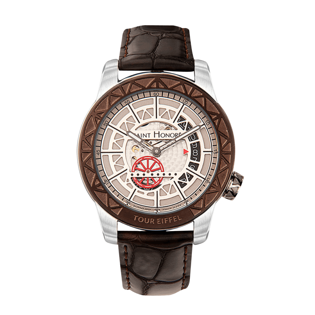 TOUR EIFFEL Men's automatic watch - Stainless steel case, red wheel dial, brown leather strap