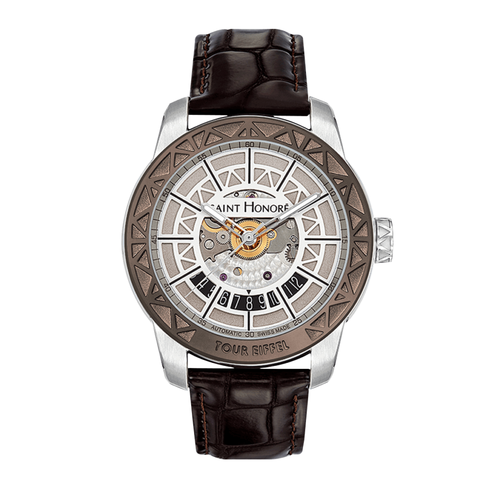 TOUR EIFFEL Men's automatic watch - Stainless steel case, silver dial, brown leather strap