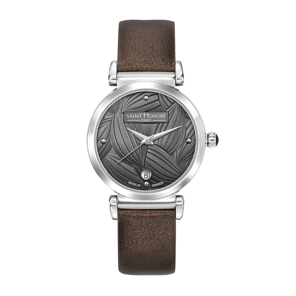 OPERA TROPICAL Women's watch - Stainless steel case, leaf pattern grey dial, brown leather strap