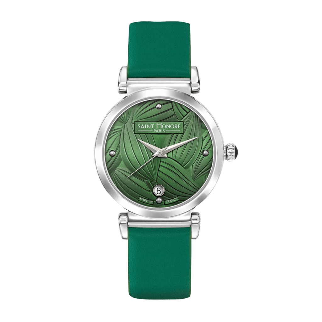 OPERA TROPICAL Women's watch - Stainless steel case, leaf pattern green dial, green leather strap