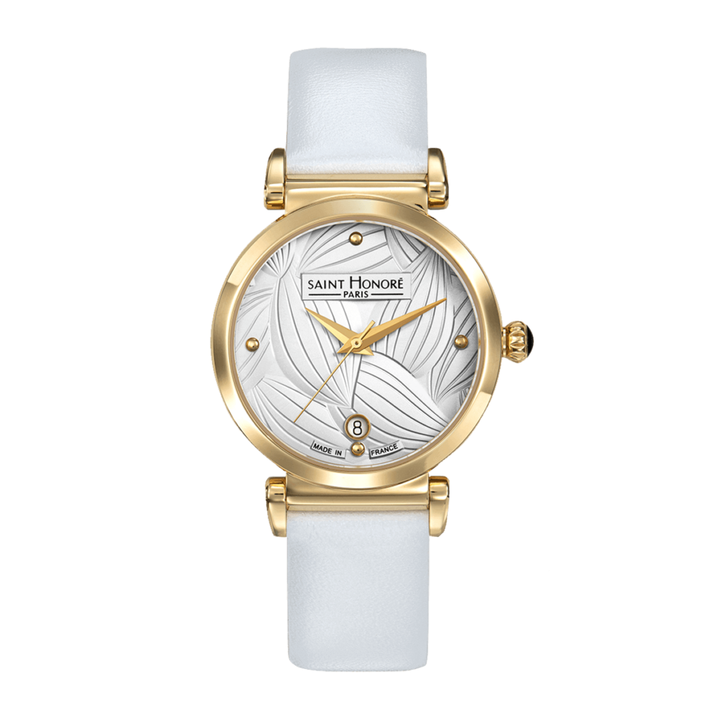 OPERA TROPICAL Women's watch - Yellow gold finish case, leaf pattern dial, white leather strap