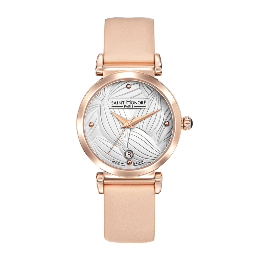 OPERA TROPICAL Montre femme - Finition or rose, cadran motif feuilles, bracelet cuir rose