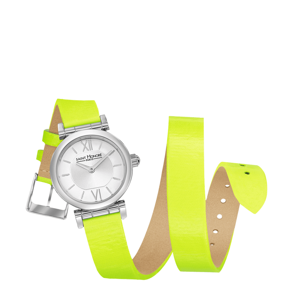 OPERA TWIST Women's watch - Stainless steel case, double loop neon yellow strap