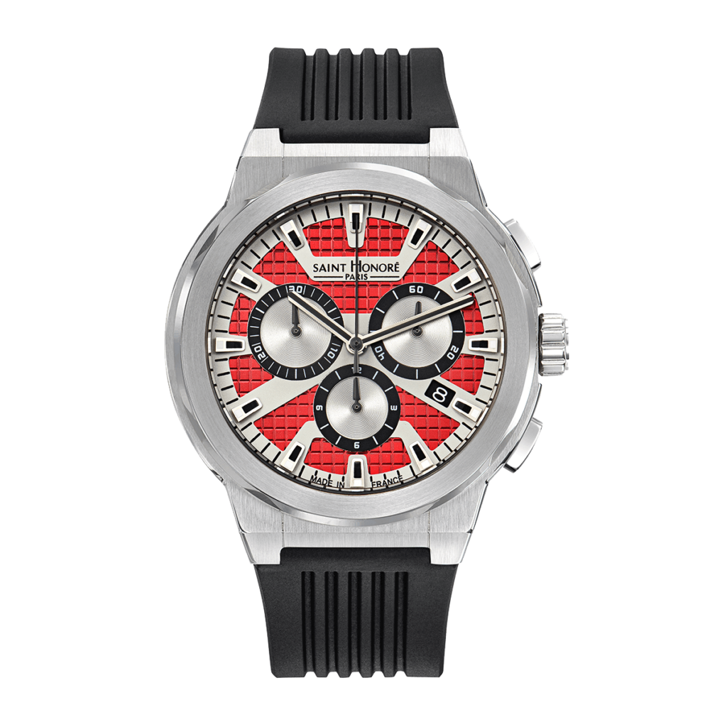 HAUSSMAN SPORT Men's chronograph watch - Stainless steel case, red dial, black rubber strap