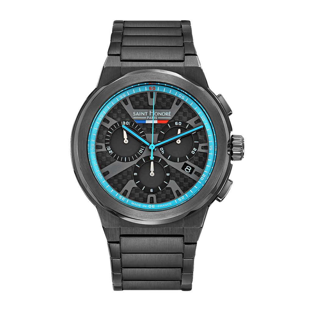 HAUSSMAN SPORT Men's chronograph watch - Titanium finish, carbon and blue dial