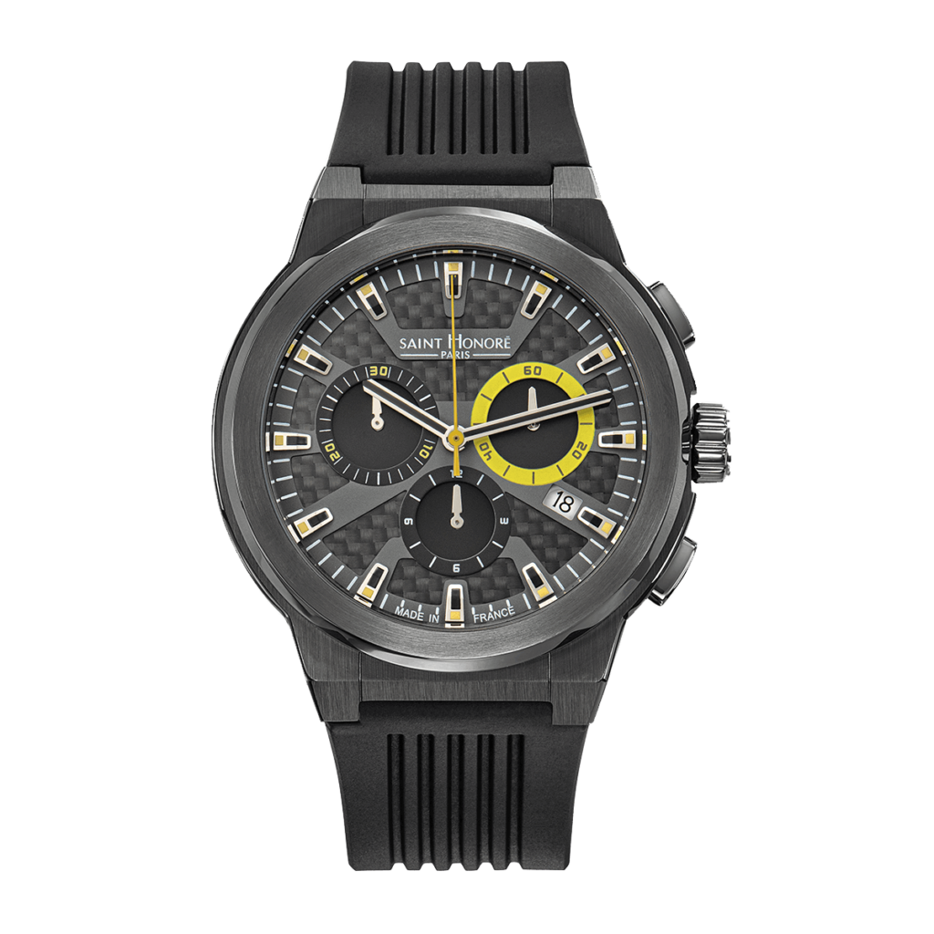 HAUSSMAN SPORT Men's chronograph watch - Titanium finish case, carbon & yellow dial, black rubber strap
