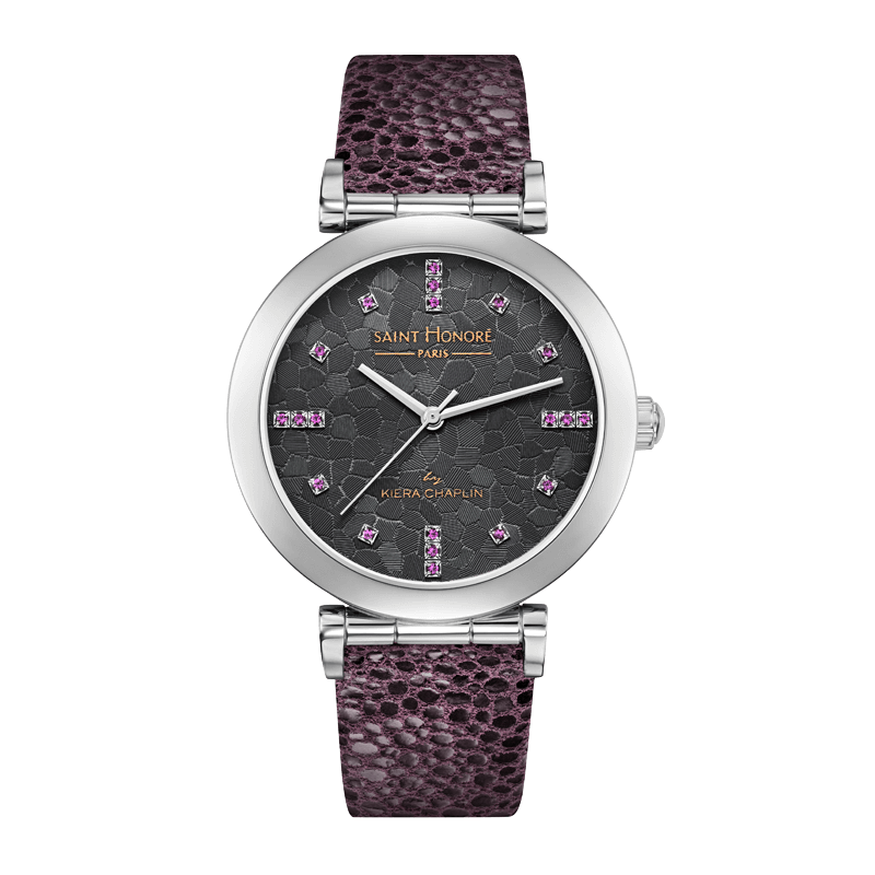 OPERA BY KIERA CHAPLIN Women's watch - Pink sapphires and grey dial, purple leather strap
