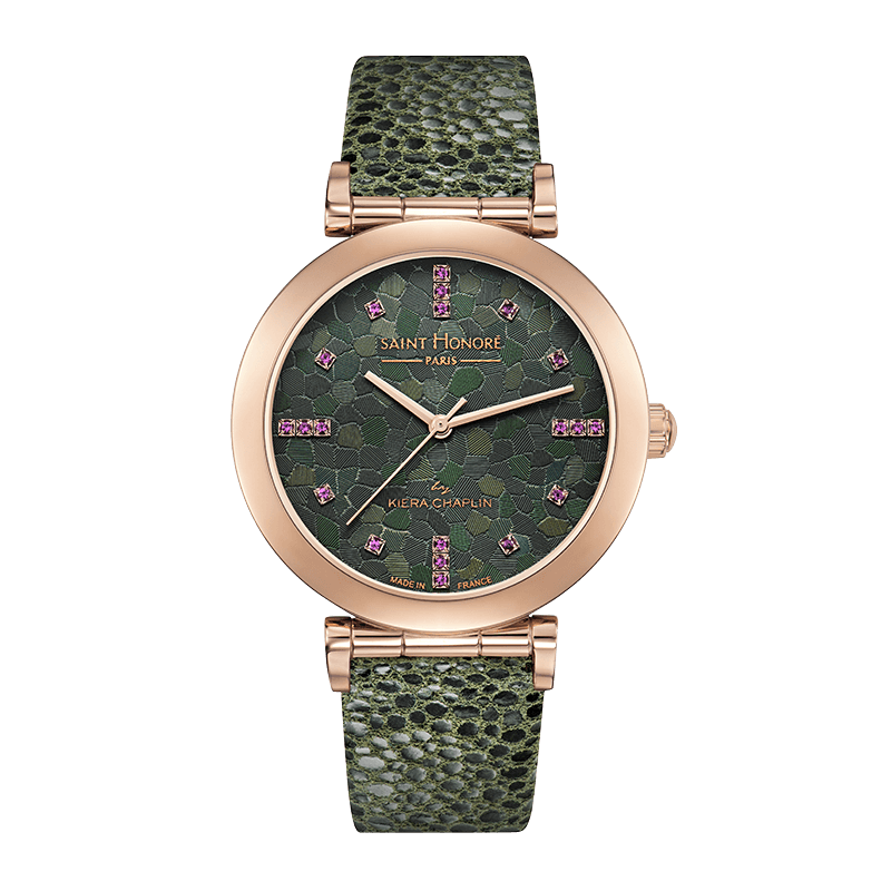 OPERA BY KIERA CHAPLIN Women's watch - Pink sapphires and green dial, green leather strap
