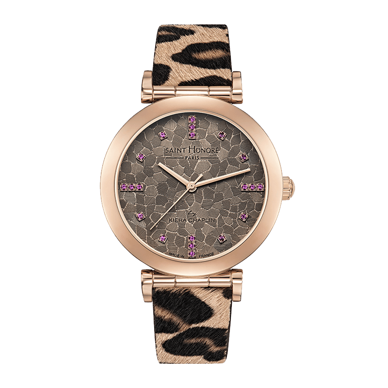OPERA BY KIERA CHAPLIN Women's watch - Pink sapphires and beige dial, leopard pattern strap