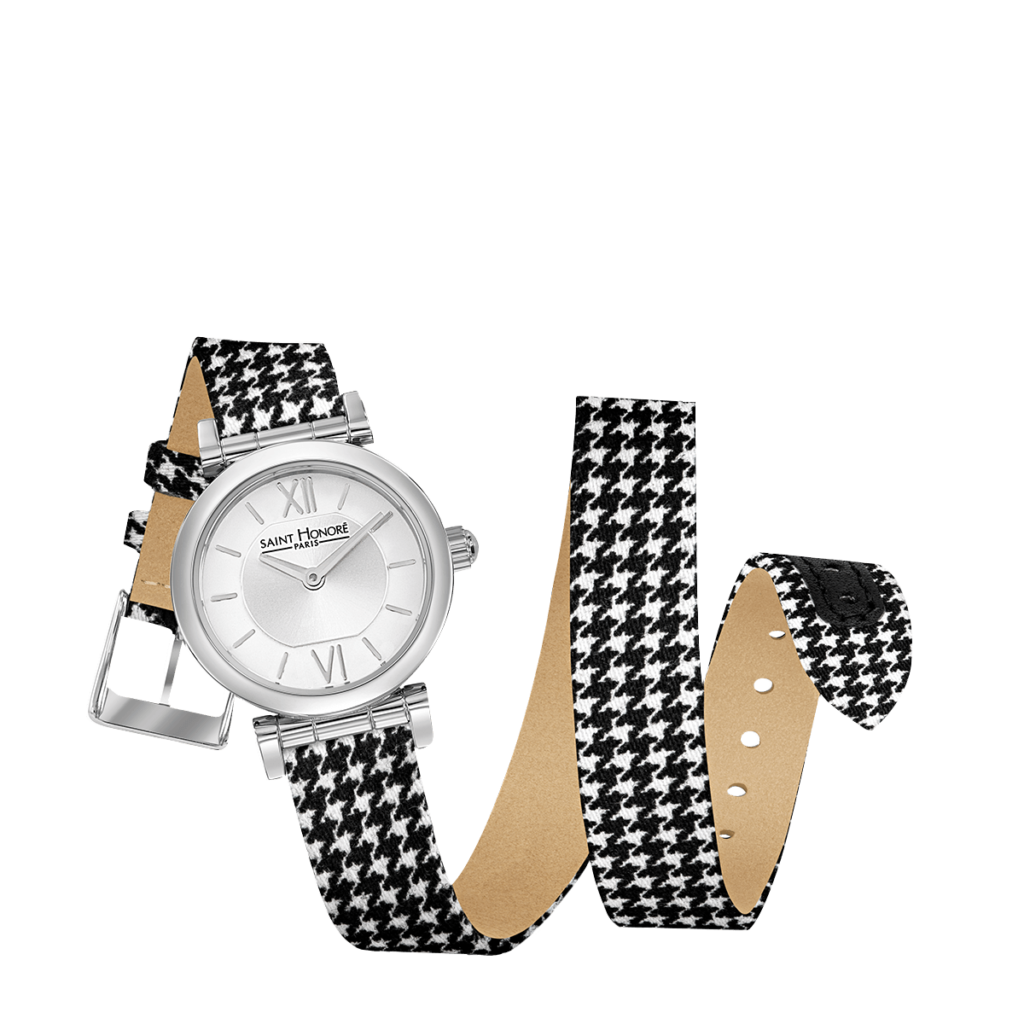 OPERA TWIST Women's watch - Stainless steel case, double loop houndstooth check strap