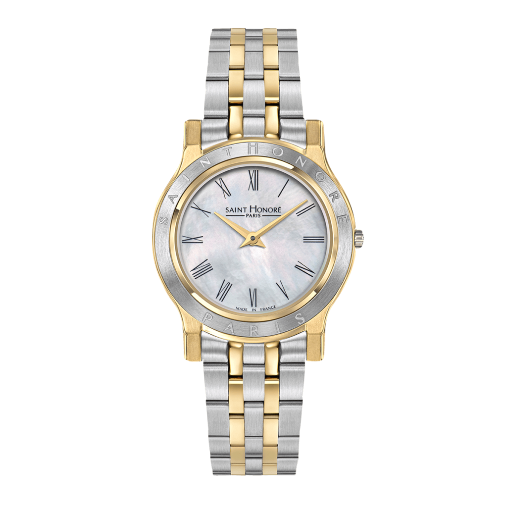 VINCENNES women's watch - Two-tone yellow gold finish case and strap, mother-of-pearl dial
