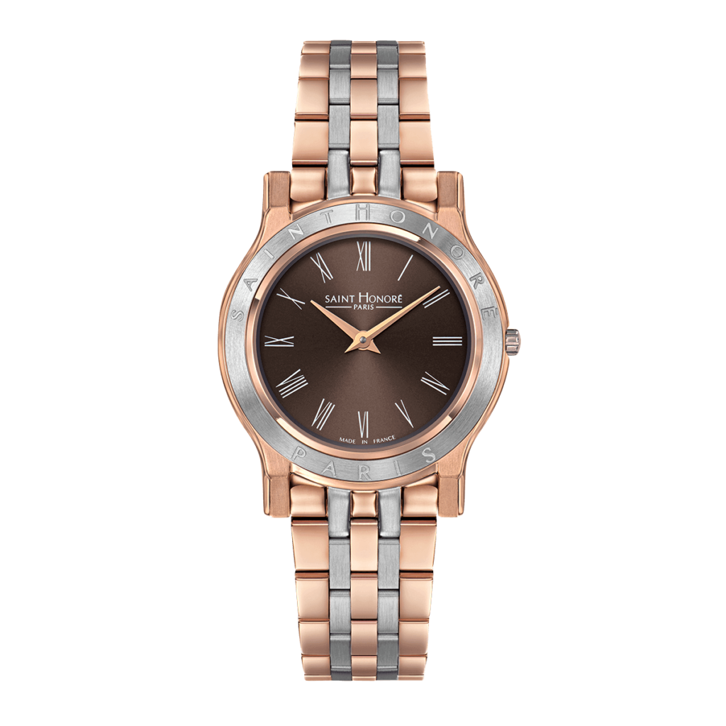VINCENNES women's watch - Two-tone rose gold finish case and strap, brown dial