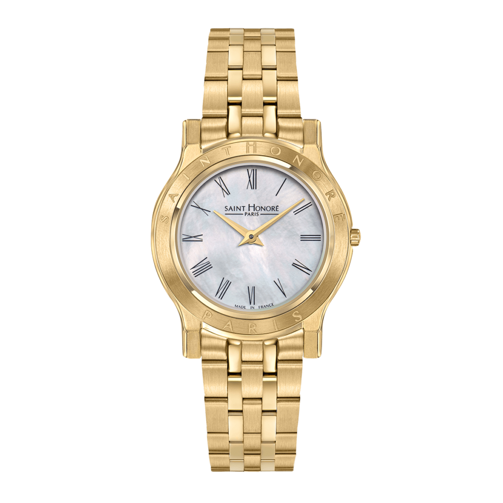 VINCENNES Women's watch - Yellow gold finish case and strap, mother-of-pearl dial