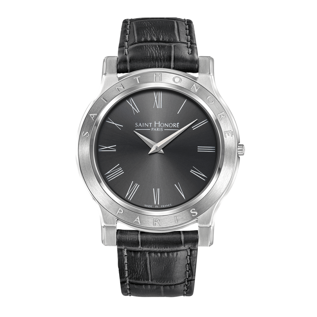 VINCENNES Men's watch - Stainless steel case, grey dial, grey leather strap