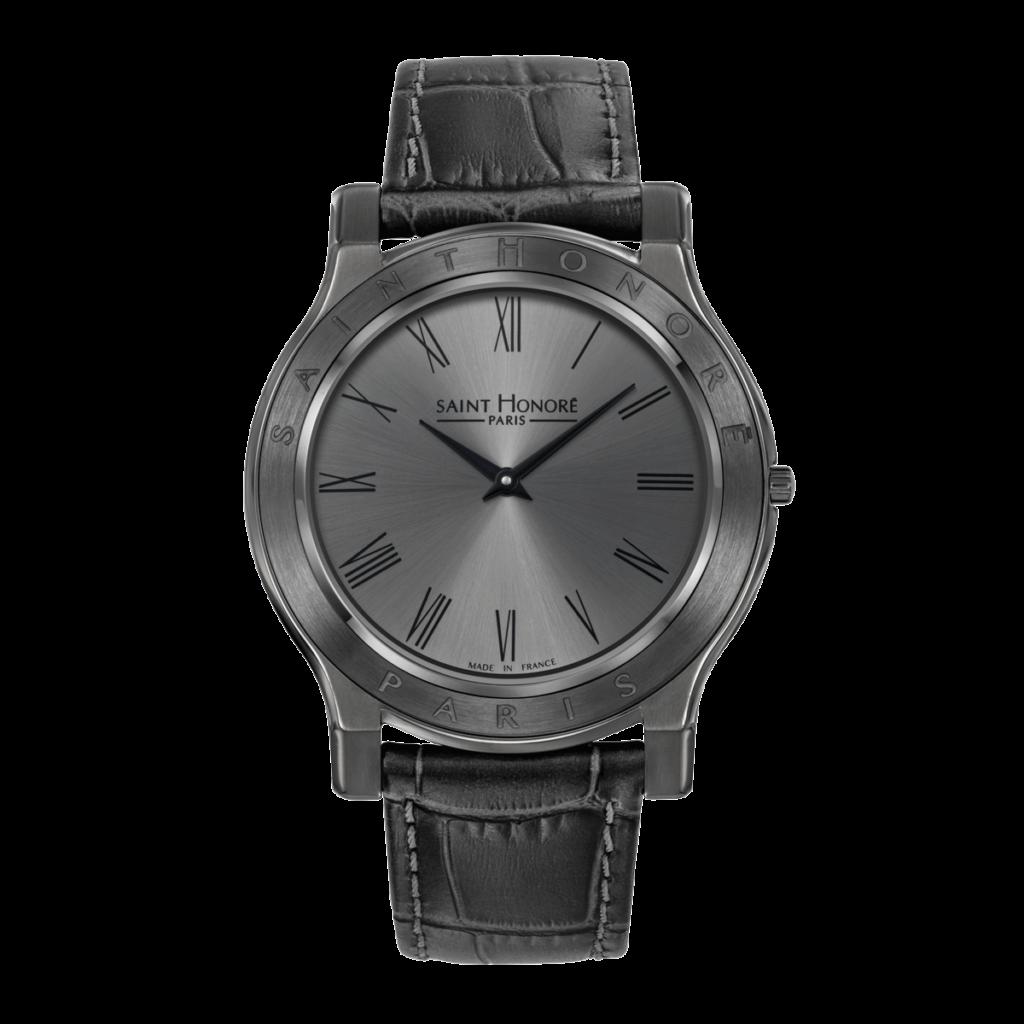 VINCENNES Montre homme - Boîtier titane, cadran gris, bracelet cuir gris
