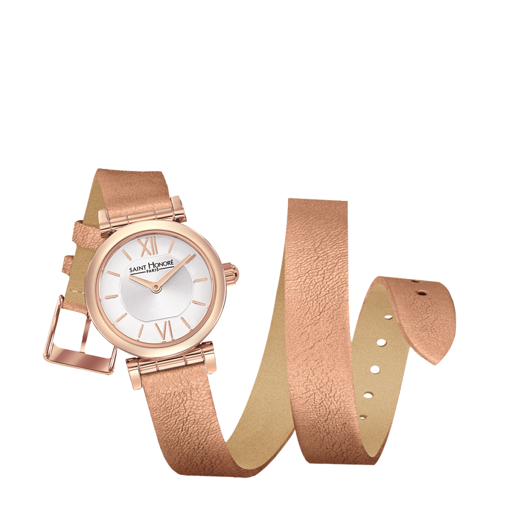 OPERA TWIST Montre femme - Finition or rose, bracelet double tour cuivré