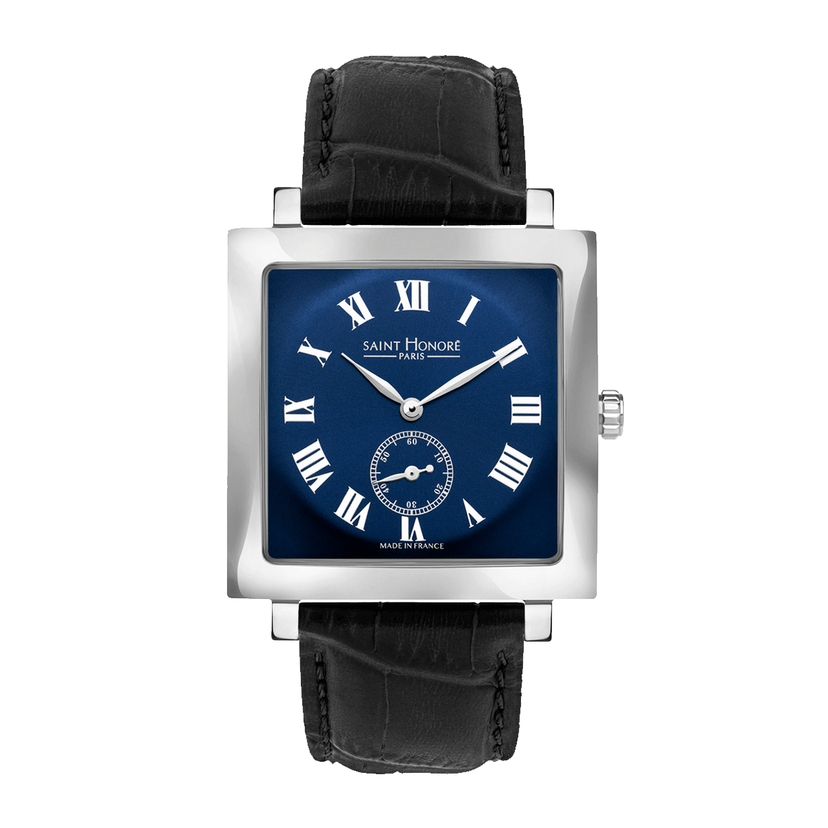 CARREE Men's watch - Square stainless steel case, blue dial, black leather strap